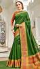 Bottle Green Color Handloom Silk Weaving Sari