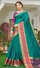 Sea Blue Color Handloom Silk Weaving Sari