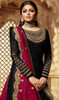 Drashti Dhami Georgette Embroidered Lehenga Suit in Balck and Rani Pink Color