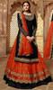 Drashti Dhami Georgette Embroidered Lehenga Suit in Balck and Orange Color