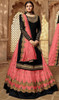 Drashti Dhami Georgette Embroidered Lehenga Suit in Balck and Salmon Color