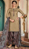Cotton Printed Patiala Suit in Beige Color