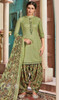 Cotton Printed Patiala Suit in Lime Green Color