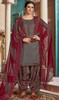 Cotton Printed Patiala Suit in Dark Gray Color