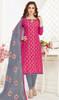 Banarasi Jacquard Churidar Suit in Pink and Gray Color
