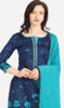 Navy Blue and Sky Blue Color Cotton Printed Punjabi Suit