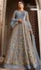 Net Embroidered Anarkali Dress in Aqua Blue Color
