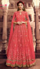 Rust Color Net Embroidered Lehenga Dress