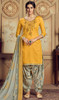 Jam Cotton Embroidered Patiala Suit in Yellow Color