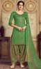 Jam Cotton Embroidered Patiala Suit in Green Color