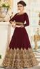 Georgette Maroon Color Embroidered Anarkali Dress
