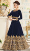 Navy Blue Color Georgette Embroidered Anarkali Dress