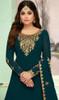 Shamita Shetty Georgette Embroidered Lehenga Dress in Dark Firozi Color
