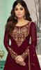 Shamita Shetty Georgette Embroidered Lehenga Dress in Maroon Color