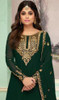 Shamita Shetty Georgette Embroidered Lehenga Dress in Dark Green Color