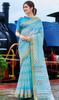 Printed Cotton Sky Blue Color Saree