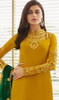 Georgette Embroidered Churidar Suit in Mustard Color