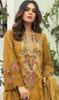 Georgette Designer Embroidered Pant Style Suit in Mustard Yellow Color