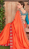 Fancy Fabric Embroidered Saree in Orange Color