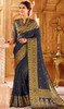 Navy Blue Color Weaving Silk Sari
