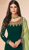 Dark Green Color Georgette Embroidered Churidar Suit