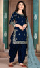 Navy Blue Color Silk Embroidered Patiala Suit