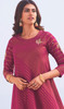 Linen Cotton Embroidered Kurti With Pant in Dark Pink Color