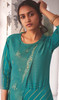 Linen Cotton Embroidered Kurti With Pant in Rama Green Color