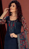 Rayon Embroidered Palazzo Suit in Navy Blue Color