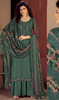 Rayon Embroidered Palazzo Suit in Steel Green Color