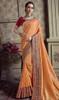 Orange Color Satin Silk Embroidered Sari