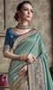 Two Tone Blue Color Satin Silk Embroidered Sari