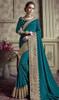 Teal Green Color Satin Silk Embroidered Sari
