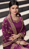 Prachi Desai Satin Georgette Embroidered Palazzo Suit in Purple Color