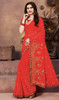 Rust Color Georgette Embroidered Sari