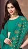 Georgette Sea Green Color Embroidered Sari