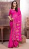 Rani Pink Color Georgette Embroidered Sari