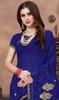 Georgette Royal Blue Color Embroidered Sari