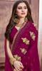 Magenta Pink Color Georgette Embroidered Sari