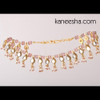Gold Plated Kundan Anklets with Mauve Beads