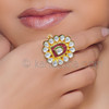 Gold Plated Kundan Enamel Fashion Ring