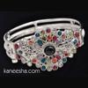 Multicolor Stone Studded Silver Bangle Bracelet