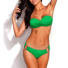 Bikini Two Piece Green Push Up Swimsuit for Women Sexy Bathing Suit Brazilian Bikini Swimwear with Metal Ring FREE Eyeglass Pouch by Kaneesha - FREE SHIPPING