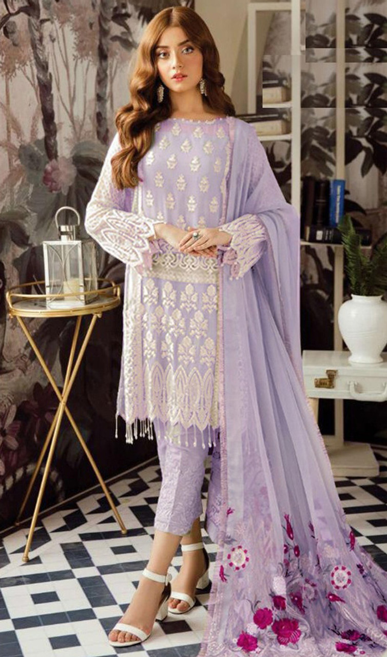 Lavender Color Shaded Georgette Suit - www.kaneesha.com