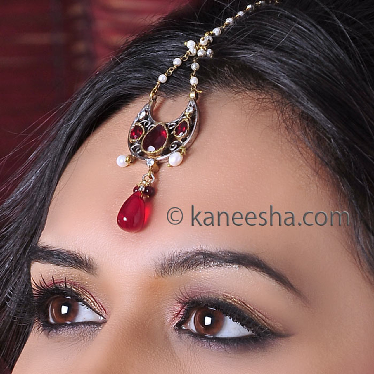 Indian Tikka Jewelry With Red Stones Www Kaneesha Com