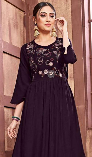 Violet Color Rayon and Cotton Embroidered Gown