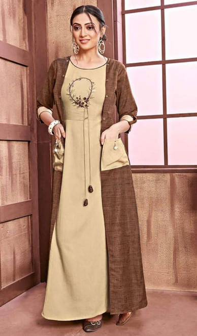 Brown and Cream Color Shaded Cotton Rayon Gown