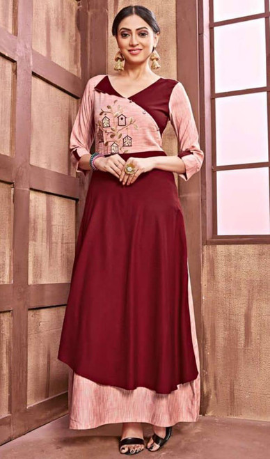 Gown in Maroon and Peach Color Cotton Rayon