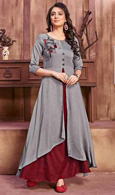 Gray and Maroon Color Cotton Rayon Gown