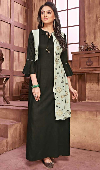 Black Color Shaded Rayon and Cotton Gown